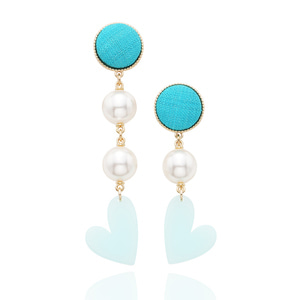[Season less]Lovely Heart Earrings (blue Green)